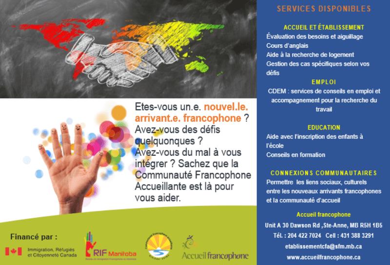 Un service d'accueil et d'établissement francophone dans la région Rivière-Seine avec le RIF Manitoba, Réseau en Immigration Francophone du Manitoba